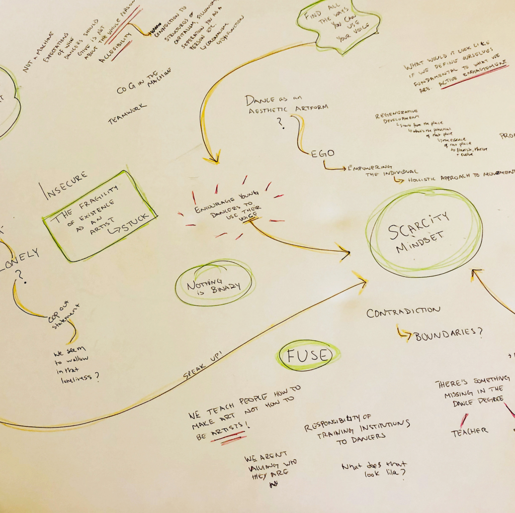 a mind map of handwritten notes, including: Insecurity, the fragility of existence as an artist. Nothing is binary. Scarcity mindset. Contradictions and boundaries. Loneliness that we seem to wallow in.